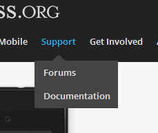 "A picture of the WordPress.org homepage, with the ""Support"" link opened up and the links for Forums and Documentation displayed"