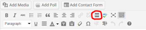 A screenshot of the more tag in the visual  editor of WordPress