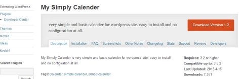 A screenshot of the information screen for a WordPress.org Plugin
