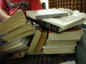 Photo of a stack of books.
