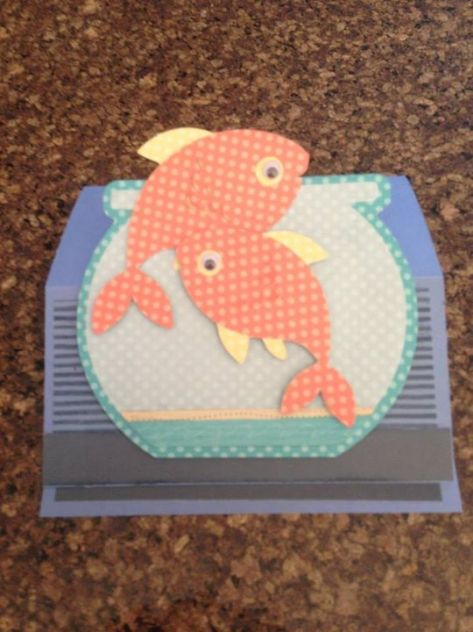 Image of handmade greeting card showing two goldfish in a bowl.