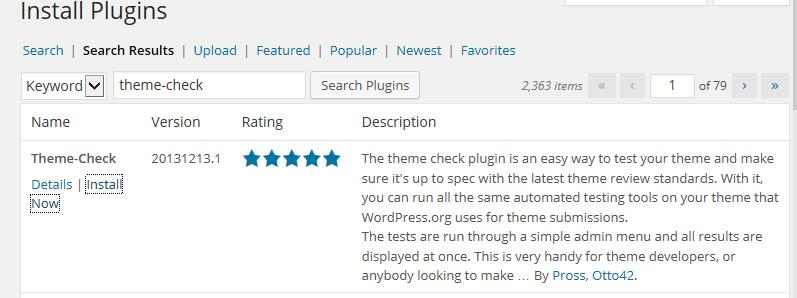 Picture of the Theme-Check Plugin install page.