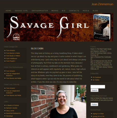 WordPress site for author Jean Zimmerman.