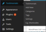 A screenshot showing the options available for the Testimonials Plugin.
