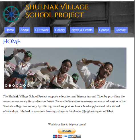 Front page of website for Shulnak Village School Project.