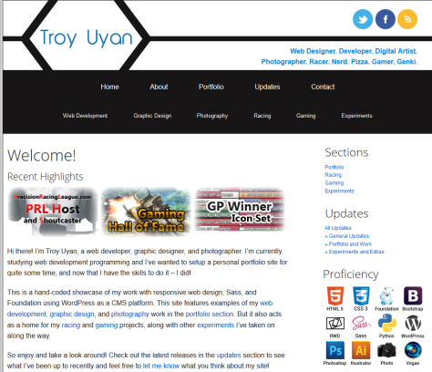Website front page of Troy Uyan, future web developer.
