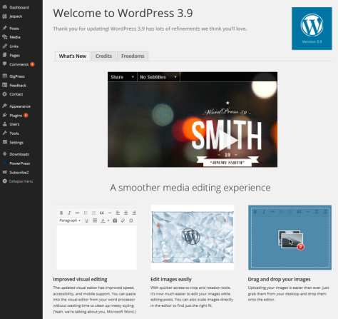 WordPress 3.9 screen after upgrading listing all of the new features.