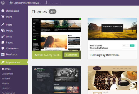 WordPress 3.9 theme Browser - improvements in the new release include featuring the active Theme in the first row corner.