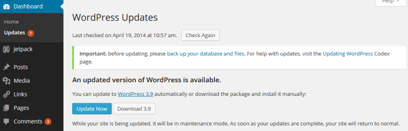 WordPress 3.9 Update Announcement on the Administration Screens.