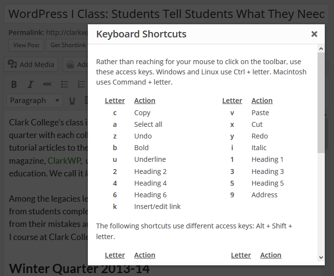WordPress 3.9 Visual Editor offers a new keyboard shortcut button to display shortcuts for accessibility and fast typing.