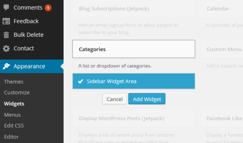 WordPress 3.9 Widget Customizer to set the Widget in a specific sidebar area.