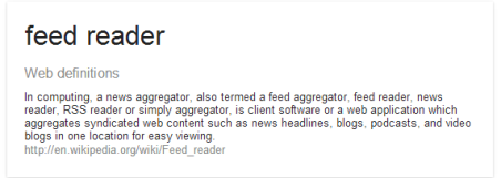 Wikipedia definition of a feed reader