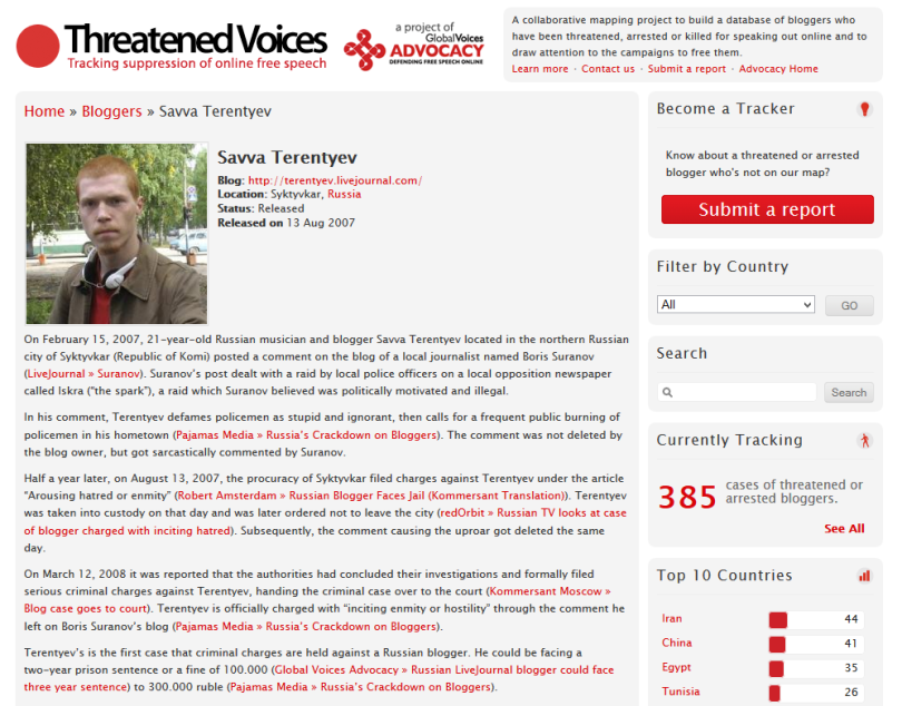 Threatened Voices profile on Savva Terentyev - screenshot.