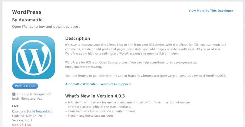 WordPress iOS App in iTunes | ClarkWP WordPress Magazine