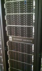 Picture form Wikimedia depicting a rack of web servers for Internet Archive