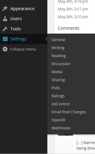Settings > Reading to get to Static Pages