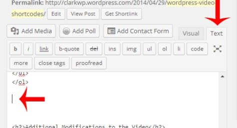 WordPress text editor showing an arrow on the text editor button and an arrow displaying the current location of the cursor