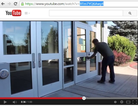 Screen capture of  YouTube highlining the video ID in URL