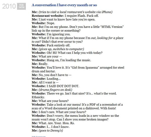 A Conversation demonstrating a rant.