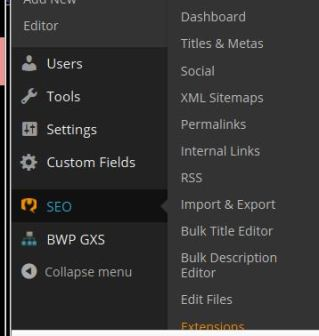 WordPress SEO menu