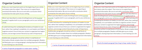 An example of the different ways to format a series of related paragraphs.