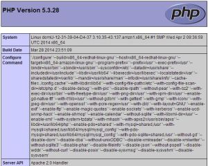 IMage of the test page for PHP in a browser