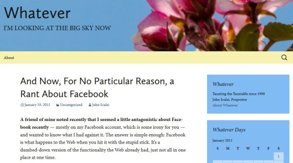 A screenshot of a webpage that features a rant about Facebook