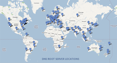 Map of the various physical root name servers. -Courtesy of Patrik Fältström