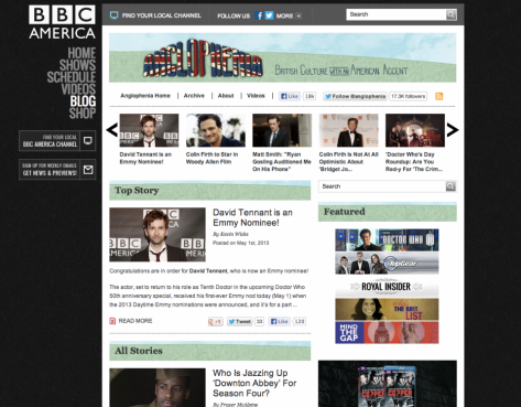 A photo of the BBC America site.