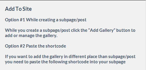 Follow these instructions to your post or subpage area