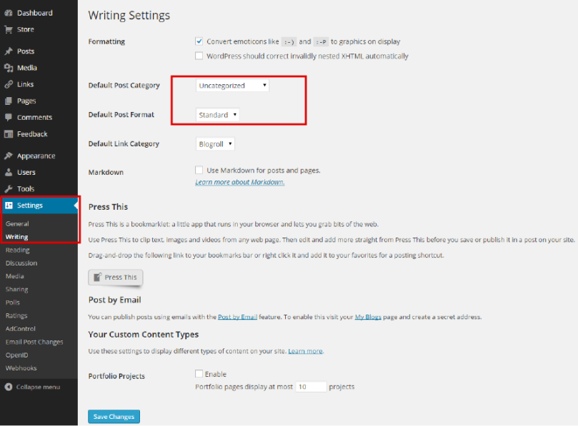 Settings for default category style