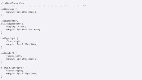 CSS code in the WordPress Core code.