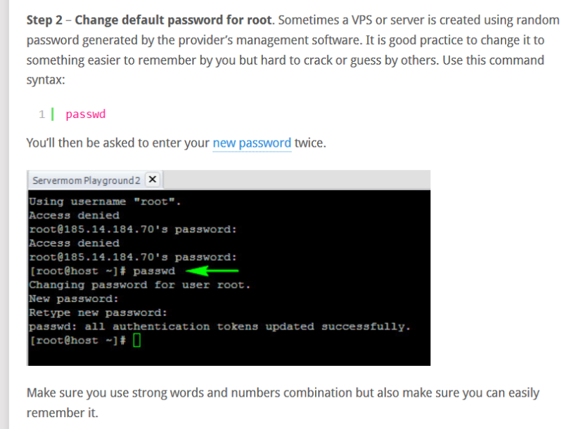 Screen grab of the user changeing the defalt password for the root.