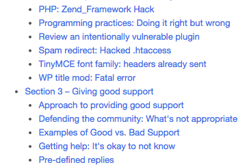 screen shot of section 3 table of contents for wordpress troubleshooting handbook