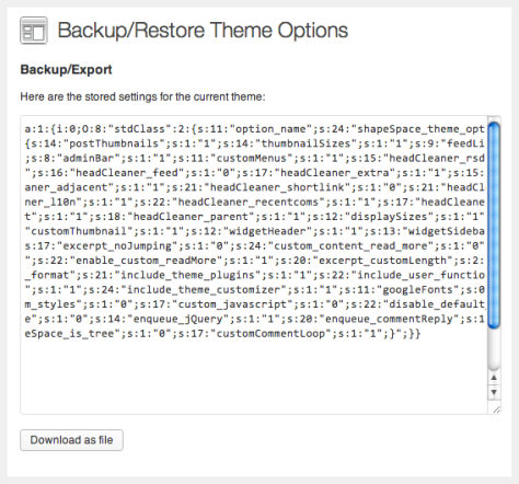 Backup Themes Options File