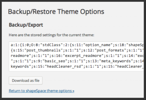 shapeSpace Backup/Restore Example