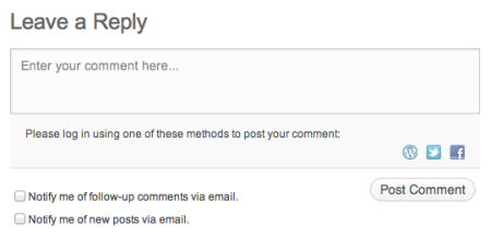 This is an example of a comment form found on WordPress.