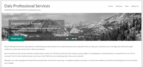 Home page of Daly Professional Services consulting business.