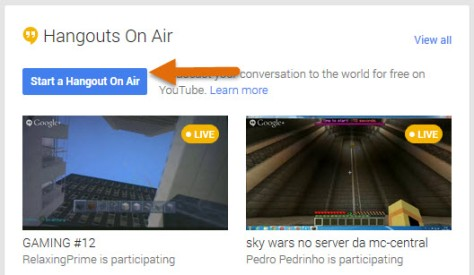 Hangout on air button