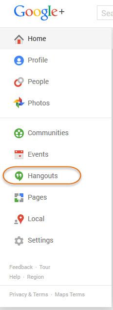 Hangouts menu