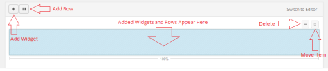 This highlights the add widget, add row, delete, and move buttons within Page Builder.