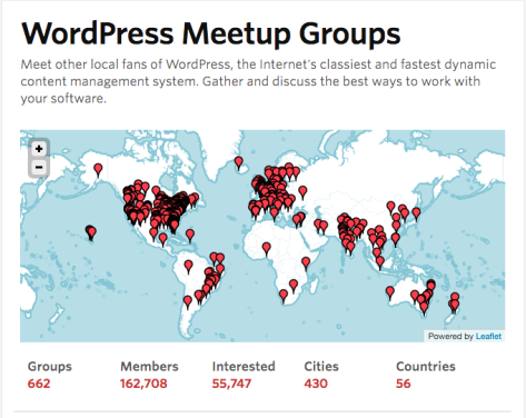 A map of the world with locations of WordPress Meetups