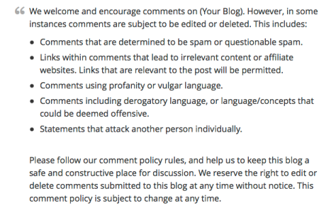 Comment Policy Example