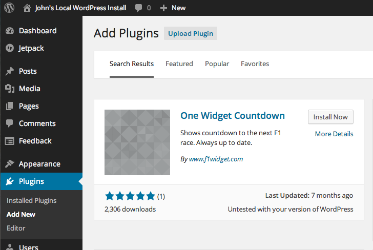 screen shot of the plugin backend