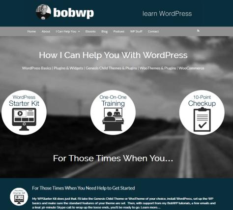 Screenshot of website for Bob Dunn WordPress Trainer.