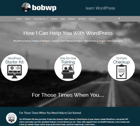 Screenshot of website for Bob Dunn WordPress Trainer.