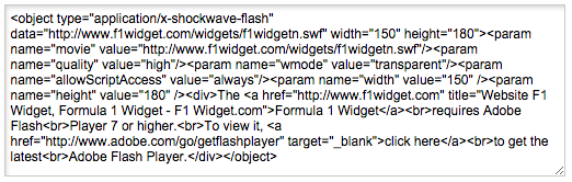 flash code used to generate widget data on non-wordpress websites