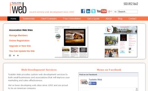 Daniel Payne - Tualatin Web website screenshot.