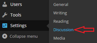 This shows the Discussion menu item withing the administration panel.