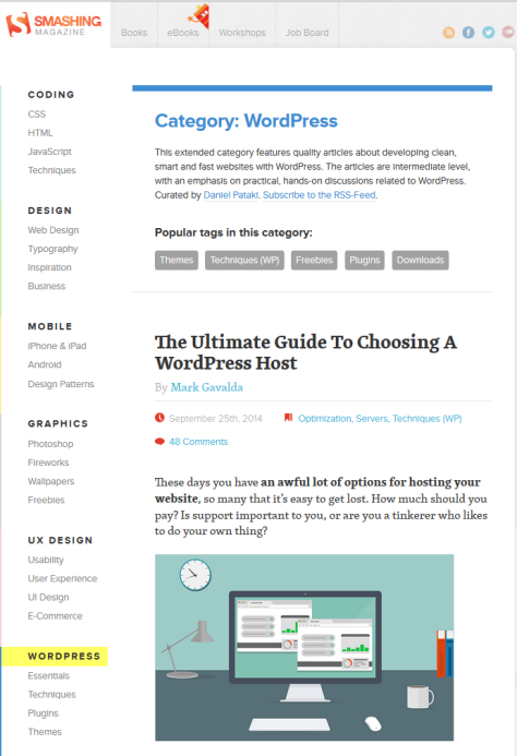 Smashing Magazine - screenshot of WordPress category of posts.